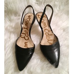 Sam Edelman Orly Black Leather Pointed Sling Backs